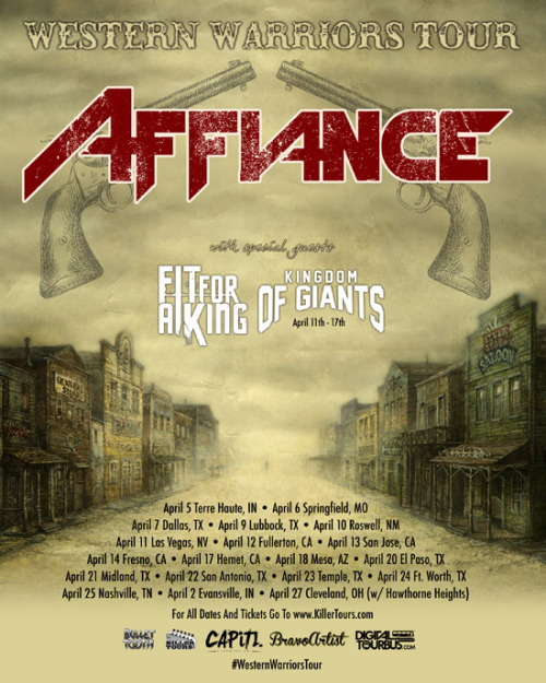 "Cleveland's Affiance are excited to announce ""The Western Warriors Tour"" featuring special guests Fit For A King and Kingdom Of Giants. The tour kicks off April 5th and runs through April 27th where they will headline their first hometown Cleveland show in 2012 with special guests Hawthorne Heights and The Plot In You. The band has been on a steep rise to success with their unique brand of melodic metal and the fans have taken notice!  Everyone is encouraged to bring their Rock Band guitars to the shows and have fun. Don't know what we're talking about??? Watch their music video for ""Call To The Warrior""! Affiance guitarist Brett Wondrak checked in to say, ""We are excited to be hitting the road with talented acts like Fit for a King and Kingdom of Giants. We haven't visited the west in almost a year so it's long overdue! Come out and play, Warriors! It's time to take the west!""  The guys just wrapped up their new music video for ""Nostra Culpa"" and it is available NOW on YouTube! The video showcases the band doing what they do best, and that is performing LIVE. Check them out in front of a packed headlining set at Peabody's in their hometown of Cleveland!  Affiance have recently wrapped up US tours with Memphis May Fire, Close Your Eyes, Serianna, The Color Morale, Stray From The Path, Vanna, This Or The Apocalypse and Deception Of A Ghost.  Their debut album ""No Secret Revealed"" is out now on Bullet Tooth and the band just released their groundbreaking new music video for ""Call To The Warrior"".  The band has received coverage from NoiseCreep and HM Magazine and has received a wealth of great reviews.  The Western Warriors Tour featuring Affiance, Fit For A King, Kingdom Of Giants (4/11 - 4/17 only): Thursday, April 5th - Terre Haute, IN @ THMVFriday, April 6th - Springfield, MO @ Lemon DropSaturday, April 7th - Dallas, TX @ TBAMonday, April 9th - Lubbock, TX @ Prairie Fire TheaterTuesday, April 10th - Roswell, NM @ The Unity CenterWednesday, April 11th - Las Vegas, NV @ The SanctuaryThursday, April 12th - Fullerton, CA @ The Riff HausFriday, April 13th - San Jose, CA @ Music Ink StudiosSaturday, April 14th - Fresno, CA @ CYCTuesday, April 17th - Hemet, CA @ Sharkey's PizzaWednesday, April 18th - Mesa, AZ @ The UndergroundFriday, April 20th - El Paso, TX @ Open Gate ChurchSaturday, April 21st  - Midland, TX @ The PineboxSunday, April 22nd - San Antonio, TX @ TBAMonday, April 23rd - Temple, TX @ The EpicenterTuesday, April 24th - Ft. Worth, TX @ TomcatsWednesday, April 25th - Nashville, TN @ TBAThursday, April 26th - Evansville, IN @ Boney JunesFriday, April 27th - Cleveland, OH @ Peabody's Downunder (w/ Hawthorne Heights & The Plot In You) For More Info:www.Facebook.com/AffianceMusicwww.Twitter.com/AffianceMusicwww.KillerTours.com/Affiance"