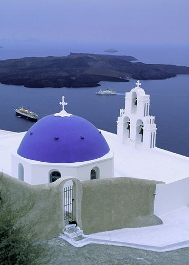 "janebrickley:  Thera Church, Santorini, GreecePhotograph by Michael Melford, 1996 ""A church on Thera overlooks the lava island of Nea Kameni, in the center of the Santorini caldera."""