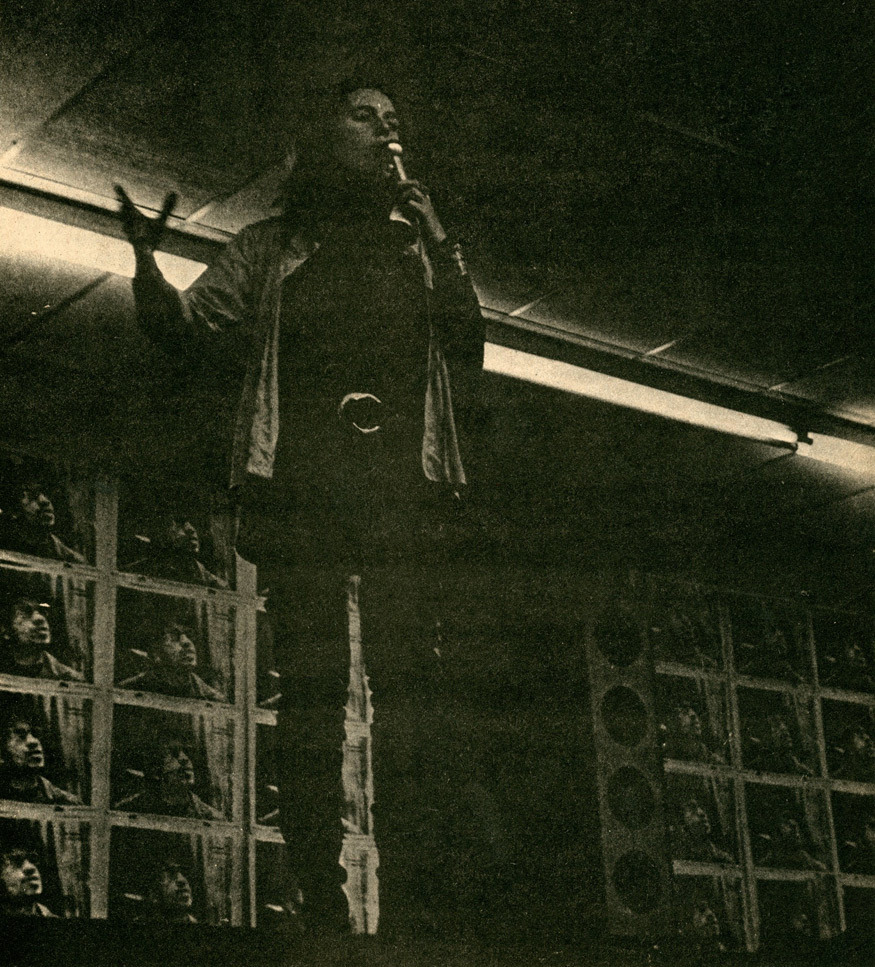 Flint, Michigan, Dec. 1969. Bernardine Dohrn addresses Weatherman conference. Last known photo before she went underground. Scanlan's (1971).  The following interview is between a Weatherman and a Weatherwoman who has since left the organization. It is significant because it is the first time that any Weatherman has made public any of their underground history.  Click here for the interview.