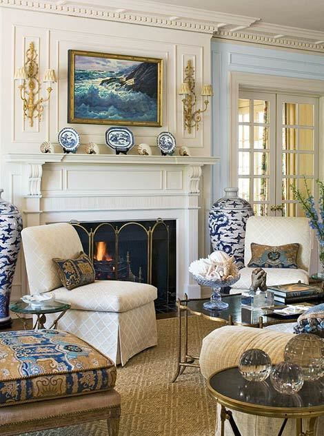 Love the colors in this room. The trim accents look wonderful.  georgianadesign:  Joseph Minton designed living room in Traditional Home.