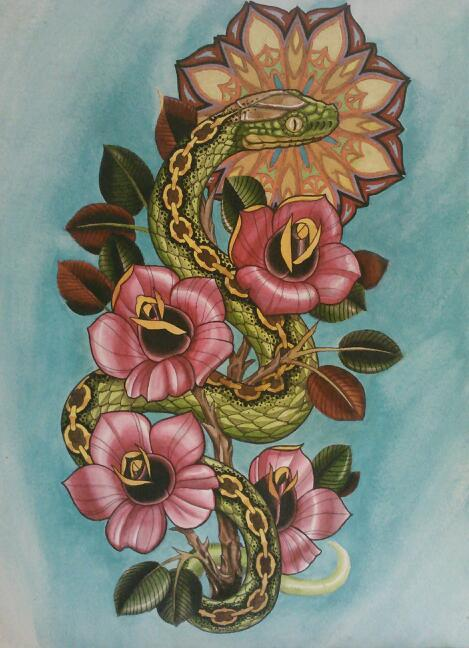 Snake and Roses with Patternwork Halo. Watercolor on 300lb cold-press paper Elijah Pashby 2012