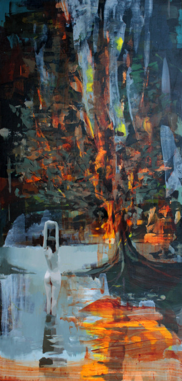 joshuabronaugh:  Burning tree48 x 24""