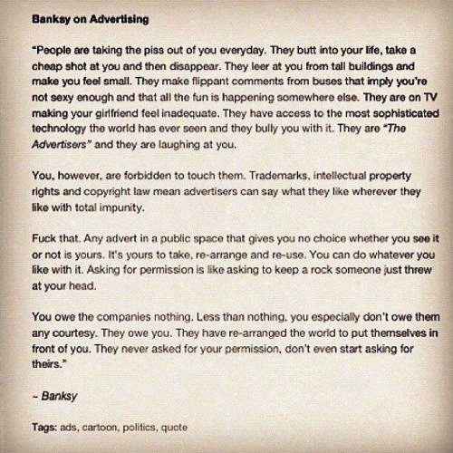 Banksy on Advertising.