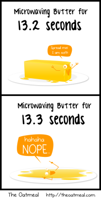 oatmeal:  Microwaving butter.  From this comic.