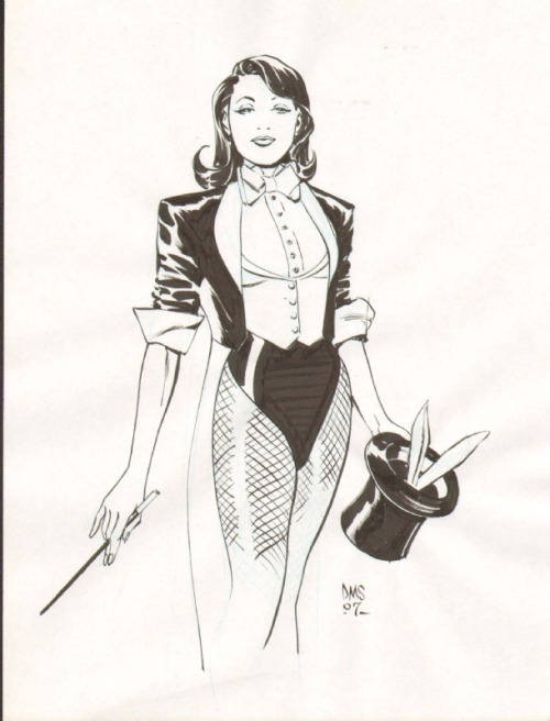 wundy:  [Image: Black and white drawing of Zatanna in her typical stage magician outfit with fishnets, holding a wand and a hat from which bunny ears are peaking.] by Paul Smith