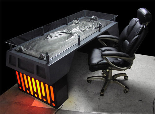 Han Solo in carbonite desk. Think my boss would buy it for me? I would do lots more work if I had it x