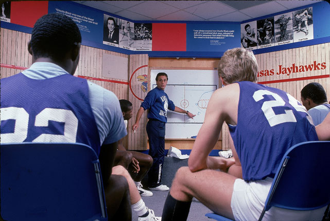 Kansas coach Larry Brown instructs his players during a 1988 practice. Brown coached at KU from 1983-88 and led the team to the 1988 National Championship. (Lane Stewart/SI) SI VAULT: New Kansas coach Brown making his presence felt (2.13.84)GALLERY: Classic Photos of Kansas Basketball