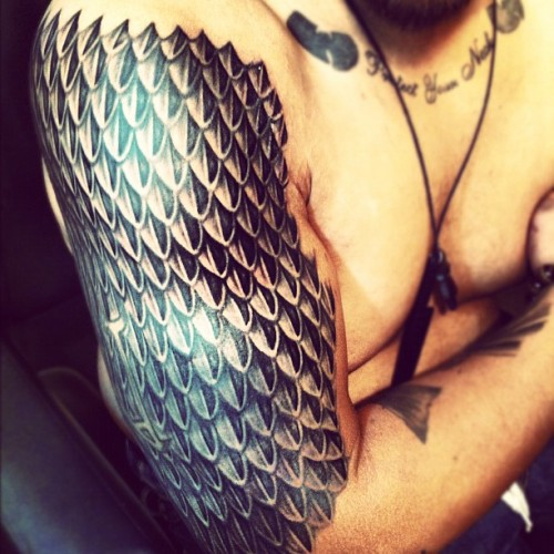 Dragon scale armor. 3 sessions so far, more to go.   Jinx Gameface Tattoos Orlando, FL
