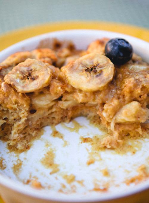 scarletpill:  Peanut Butter Banana Breakfast Bread Pudding Recipe