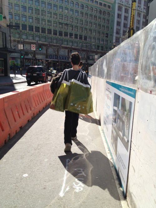 Streets of San Francisco: Shopping bags as the new accessory? Fashionable, yes, but it's what's inside the bag that counts. Shoppers lined up outside early this morning to peep the new featured designer, Marni, as it hits H&M stores. Check it out!