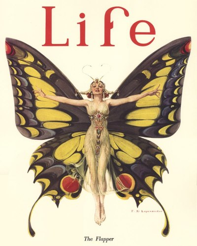 retrogasm:  This is a famous Life magazine cover from 1922, by F. X.  Leyendecker, entitled  The Flapper.  A poster of this appeared on a popular television program in the 70s and 80s.  Do you remember which one? Two people got it right http://partridge6.tumblr.com/ and http://queenofconey-island.tumblr.com/ It was indeed almost always present in Three's Company. Link, above Chrissy's head, http://www.discountpostersale.com/p225260/Threes-Company.html