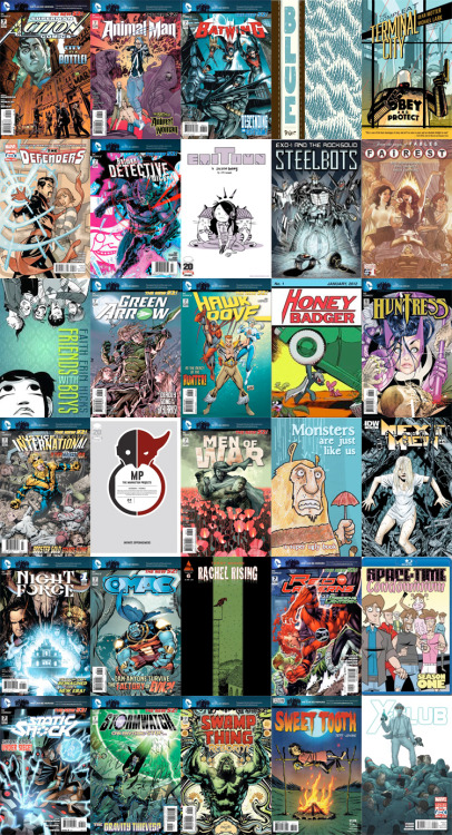 Comics for Wednesday March 7th. Fun week. So many of my favorite creators are represented. Morrison on Action Comics. Phil Jimenez on the Fairest. Keith Giffen on OMAC. Two of the few Marvel comics I read with Defenders and X-Club. And then there are the newer creators discovered over the years of being a podcast pundit such as Jeff Lemire, Jonathan Hickman on Manhattan Projects, Emi Lennox with the second Emitown volume. Or the Action Lab crew with their release of Exo-1, Monsters are Just Like Us and Dave Dwonch's Space-Time Condo. With this week there's also the chance to discover the works of creators I have yet to read: Pat Grant's Blue from Top Shelf. Faith Erin Hicks' Friends with Boys from First Second. And while it's not new, I've only ever read one issue of the sequel to this series, so I must pick up the Compleat Terminal City from Dark Horse. DC and Marv Wolfman have resurrected Night Force, an 80s property that had decent Gene Colan artwork. And who can pass up the homage cover to the super-hero comic that started it all with the crazy Honey Badger Adventures #1. All in all, a great selection of books this week kicking off a new month, the second half of the year for the DC reboot, the start of the convention season and hopefully so much more.