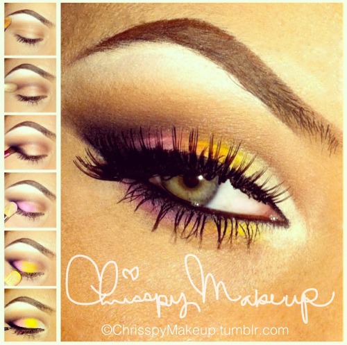 Spring Eyes by ChrisspyMakeup.. 1.) After prepping eyes with MAC select cover-up concealer as my base I highlight the brow bone with a MAC Mylar shadow using a MAC 252 flat brush. 2.) Next I dust Soft brown over the upper crease, then define the inner crease using MAC Handwritten shadow and a 217 Brush.  3.) Then I shade the outer corner of the lid, extending into the crease in a V shape using Carbon shadow and a brush comprable to the 239 brush (mine's a cheapie hand-me-down brush, I don't know the name :/ ) 4-6.) Again using the 252 brush I packed MAC Pro pigments Vivid Pink, Chrome Yellow, and Mylar shadow, using a patting motion to blend them into each other. I then shaded the lower lash line with these shadows.  7.) Liner and Lashes! I used NYC liquid top liner, MAC fluidline, Maybelline Great Lash, and Dolly Wink brand lashes.