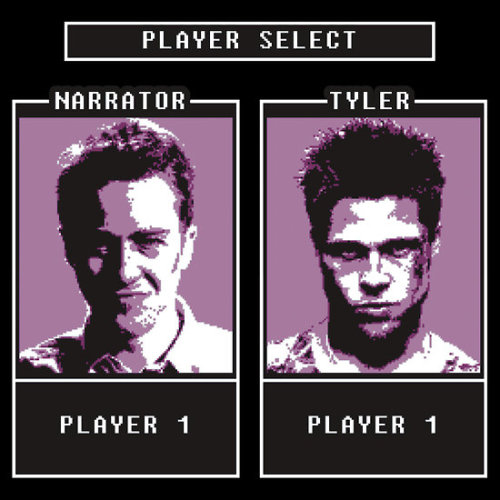 """Fight Club: Player select"" by dutyfreak USD$28.72 Follow the artist on Tumblr"