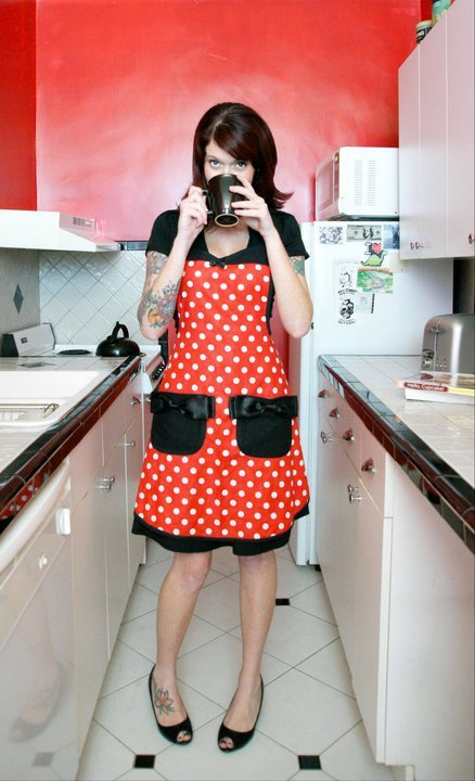 Minnie Mouse apron by Haute Mess Threads Model Nicole Brown Photography by  Discovery Photography and design http://www.etsy.com/listing/82571850/minnie-mouse-disney-polka-dot-pin-up