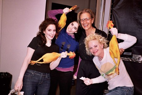 MINUS Sarah Silverman. awesomepeoplehangingouttogether:  Tina Fey, Sarah Silverman, Annie Leibovitz and Amy Poehler