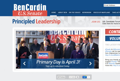 A new website for Sen. Ben Cardin. Continuing our quest to parallax politics. Visit the site.