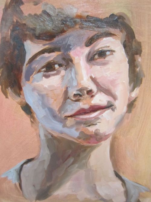 Self Portrait, oil on board, using only white, quinacridone, transparent earth red, and cobalt blue.