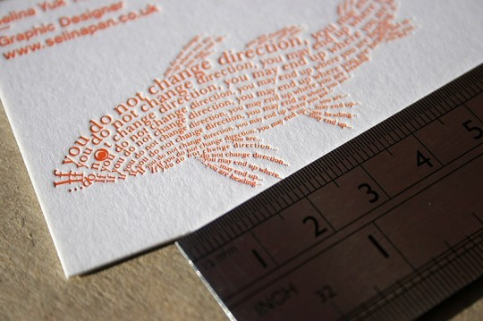 Bespoke business card by Wales based printing press Blush. Check out the detail.