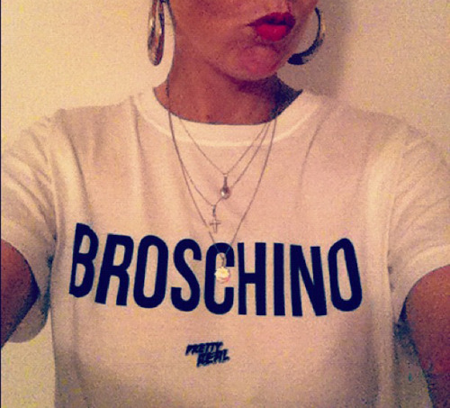 prettyreal:  PRETTY REAL 'BROSCHINO' TEE.  E mail: 'yo@prettyreal.tv' for more info