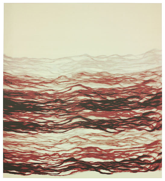 "Michal Rovner, ""Medba"", 2006, pure pigment on canvas © Fiona Rae, courtesy The Pace Gallery.  This work was created after the artist's 2004 journey across Central Asia.  At Rovner's final stop on that trip, a remote oil drilling camp in The Republic of Kazakhstan, she found and filmed the elements from which she composed various works. Rovner used the jet of flame, which shoots from the tops of oilrig smokestacks as natural gas is bled off of the well, as her primary subject."