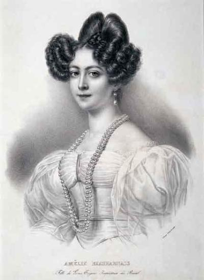 Engraving of Amélie of Leuchtenberg, Empress Consort of Brazil, by Jean-Baptiste Aubry-Lecomte