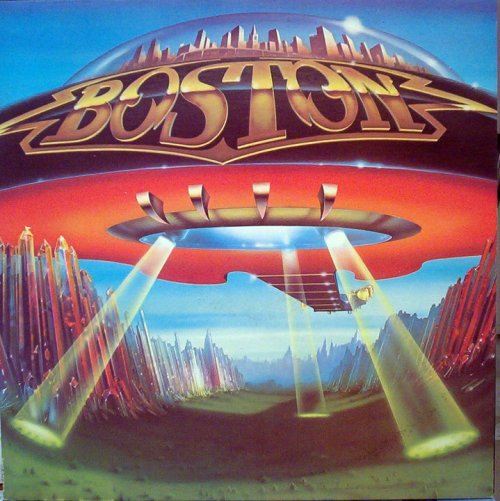 ": Boston - ""Don't Look Back"". . A lot of people don't realize that the image on Boston's album cover is a gigantic flying guitar with the city of Boston located under a dome on top (technically, the guitar's back). On 1978's ""Don't Look Back"", the band's 2nd album, artist Gary Norman painted the low-flying guitar craft up close enough to see the frets and the gleaming machine heads. If that wasn't enough, the inside sleeve of the record actually had a blueprint of the Boston craft that showed the guitar craft's dimensions (in case you wanted to build one yourself). . The Boston logo emblazoned on the side was courtesy of Gerard Huerta, who did the logos for AC/DC, Ted Nugent, Foreigner, the NGM, and countless others. . One bit of trivia: Norman's album art ultimately was copied for the design of Atari's ""Space Invaders"" game pack."