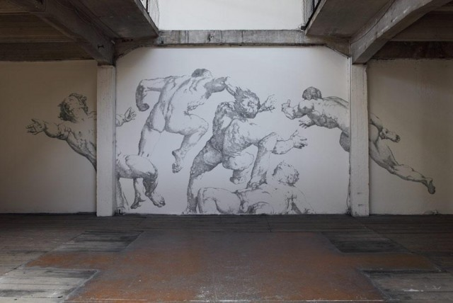 laughingsquid:  Renaissance Staple Murals by Baptiste Debombourg