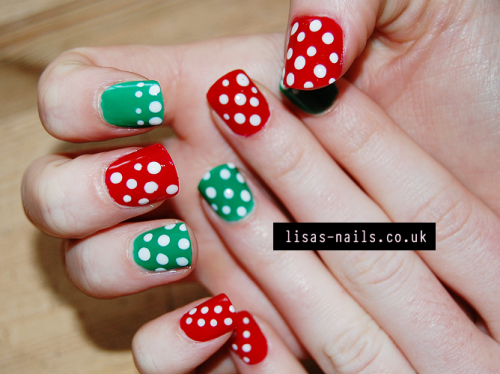 Red and green with white polka dots.