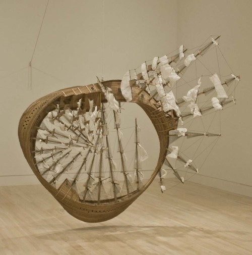 Tim Hawkinson, Möbius Ship. 2006. wood, plastic, Plexiglas, rope, staples, string, twist ties, glue filthymoraldisease:  Tim Hawkinson