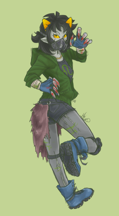 robotrainbows:  Nepeta's design, all colored and finished.  A bit more post-apocalysptic style!! Nepeta <3 she's one of my favorite design