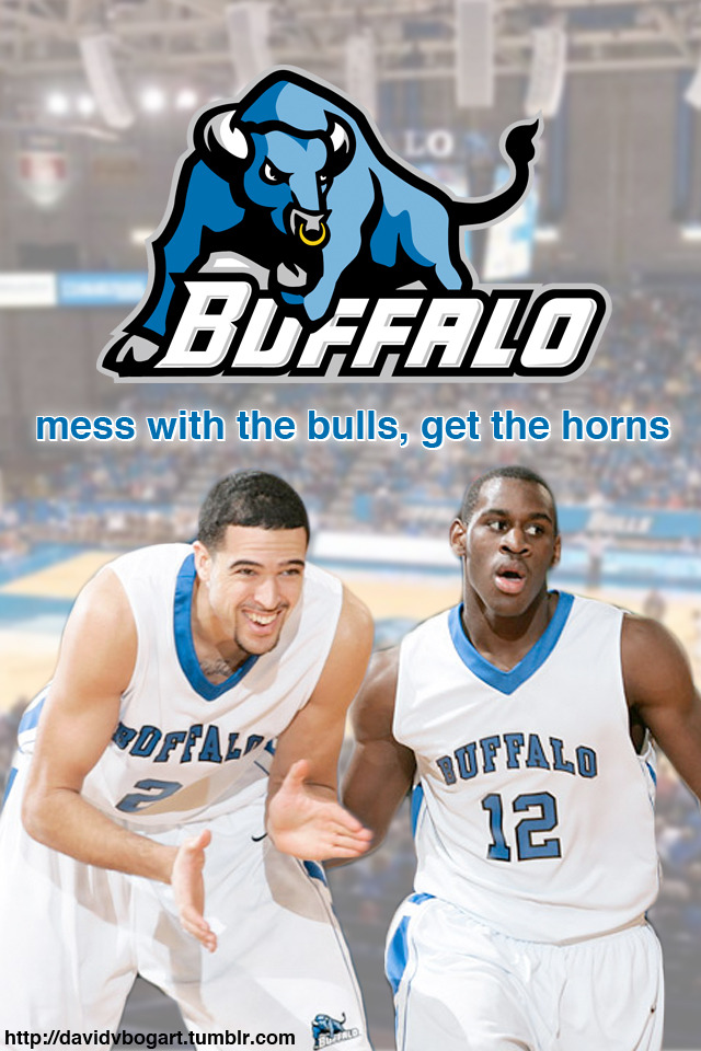 "Dress up your iPhone for March Madness with a Buffalo Bulls ""Mess with the Bulls, Get the horns"" wallpaper."