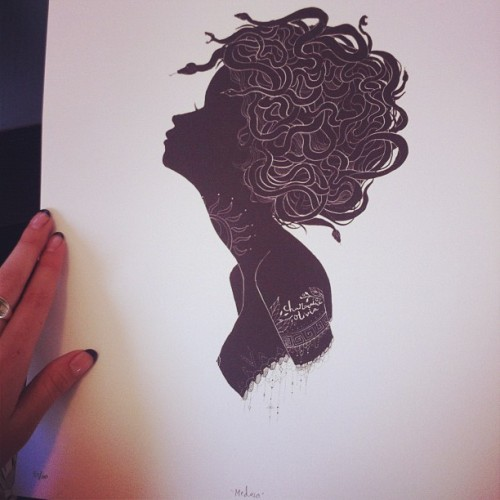 print signing day. Medusa silhouette prints are almost sold out. Only like 6 left. You can get em here: http://CharmaineOliviaShop.com. as always, once these limited editions are sold out I won't be selling them ever again. Gone and gone