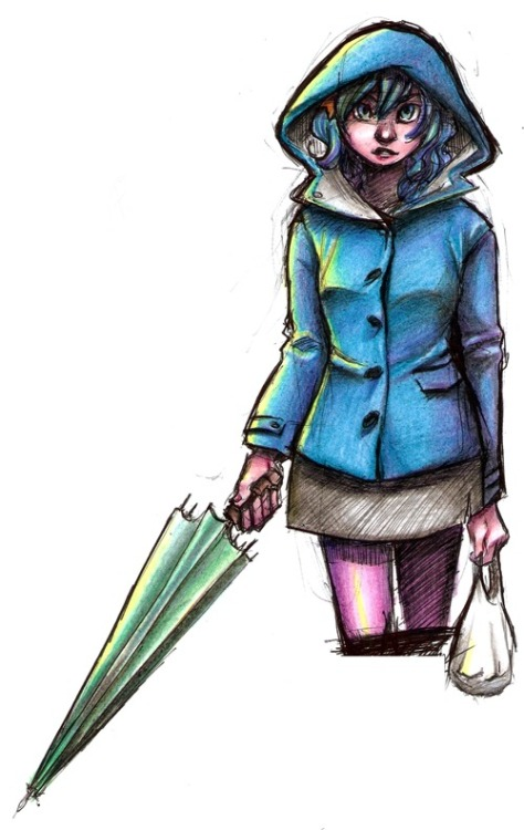 art-lab:  07-02-13 // Pen + Color Pencils // Ramona Flowers from Scott Pilgrim The colored version of the previous day sketch I'm kinda proud of the colors, I've never was too good with pencil and I'm finally improving n_n . Btw, It looks so much better in person, I promise <__<