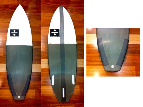 "Custom 5'9"" stringer less eps blank, glassed with 2x 5oz sheets and 1x bi axel sheet on the deck. Bottom -  1x 5oz sheet + carbon strip epoxy resin, future fins, diamond tail flyer. For M.D by P.D"