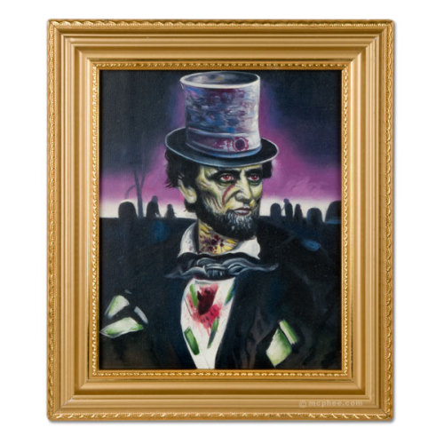 Zombie Lincoln oil painting.I can't believe I wasn't aware of this priceless artwork until now. Yours (and probably mine) for only $38.95. Includes frame!