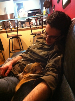 Daddy and me cuddling.