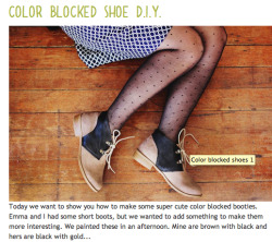 feedyourwonderland:  How To; Colorblock Shoe DIY.
