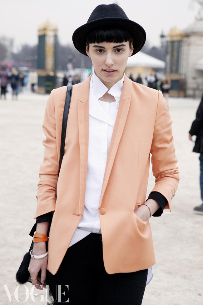 Street style from Paris:  Anne Catherine Frey wearing The Kooples jacket, vintage shirt, J Brand jeans, vintage hat, Balenciaga cuff, Alexander Wang bag.
