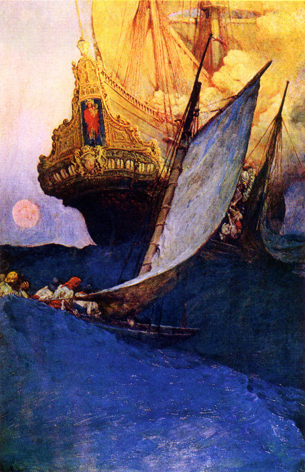 welovepaintings:  Howard Pyle Attack on a Galleon 1905