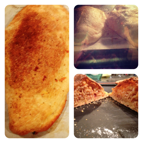 Spaghetti Calzone: pile left over spaghetti and mozzarella into pizza dough, wrap up, brush top with olive oil, sprinkle outside with garlic powder and oregano, and bake at 400 for 35 minutes. So delicious!