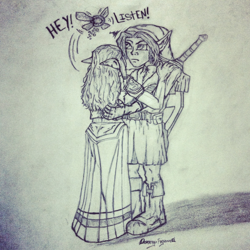 Newer drawing: Link & Zelda (OoT-era) sharing a moment, interrupted by Navi.