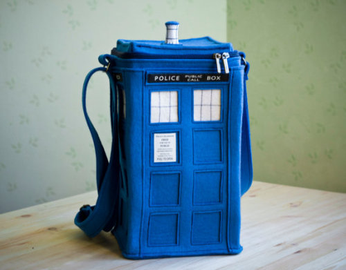 "Blue Felt TARDIS Bag (TARDIS purse) coolthingsfrometsy:  This bag is made of natural thick blue felt (100% wool) in a shape of TARDIS.It has adjustable strap, zipper, lining and inner zipper pocket.TARDIS (Time and Relative Dimension in Space) is a time machine and spacecraft in the British science fiction television programme Doctor Who and its associated spin-offs.""It is larger on the inside than the outside"".   http://www.etsy.com/listing/85498340/blue-felt-tardis-bag-tardis-purse"