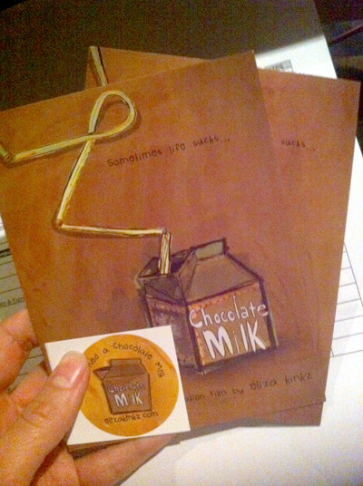 "I'm my own PR Crew at SXSW for Chocolate Milk.  Been sprinkling postcards all over town.  Thanks AUSTIN for letting me promote my film ""Chocolate Milk"" in your awesome shops and other locales!  (Psssst….Be on the lookout for the elusive STICKER postcard!!)"