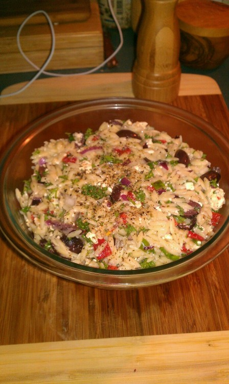 Greek orzo salad. I stole this recipe from my friends Silvia and Nicole, and used Greek oregano from my friend Audrey. Orzo, kalamata olives, roasted red peppers, green and purple onions, feta, parsley, garlic, Greek oregano, lemon juice, olive oil, salt and pepper.