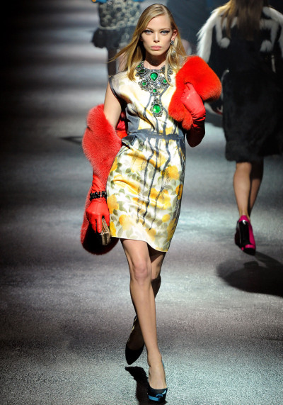 Lanvin Fall RTW 2012 Model: Tanya Dziahileva   Happy 10th anniversary/birthday to Lanvin designer Alber Elbaz! He's the man who made Lanvin an internationally known high fashion brand (especially with the bright, jewel toned dresses and big flouncy ruffles and statement necklaces).