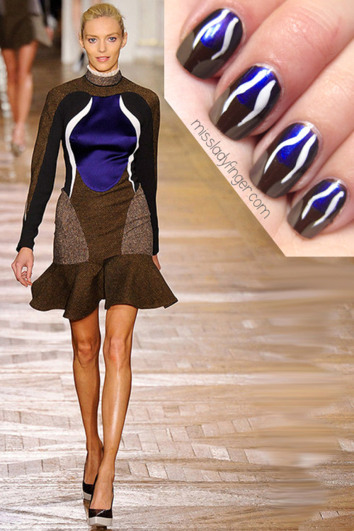"MANICURE MUSE: Stella McCartney AW'12 After a sporty chic Spring '12 collection and with Olympic uniforms on the way, it comes as no surprise that Stella McCartney is keeping the athletic-wear ball rolling for Fall. ""The Stella woman is about balance,"" said McCartney of her Fall collection. Body con tweed dresses with symmetrical white stripes are fine by me, so, with that said, I give you my Stella McCartney ladyfingers.  To recreate this look, I used: Forbidden by Chanel, Beige Babe by Rimmel London, Marine Blue by The Balm and White nail art paint by Kiss Nail Art.  To get these ladyfingers: 1. Start with a dark brown nail 2. Paint a half circle of blue starting from the top of your nail ending at the center 3. Using your taupe, paint 1/4 of a circle on a corner of your nail 4. Repeat on the other corner leaving a small space of brown still exposed in the center 5. Using a white nail art brush, draw a squiggly line on the left side 6. Repeat making another line symmetrical with the one you just made 7. Top it off with Seche Vite's Fast Dry Top Coat"