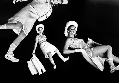Boots are in the air in this vintage photo of Courréges clothing!