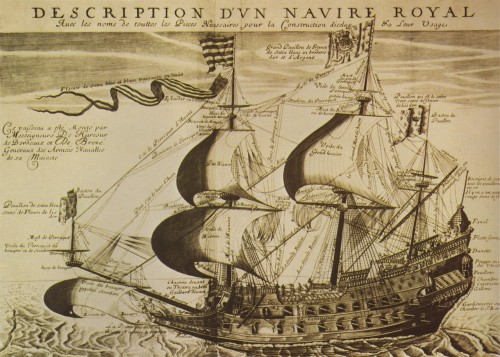 "Description of a French Royal Ship, from ""L'Hydrographie"" by Georges Fournier, 1667. via missfolly"