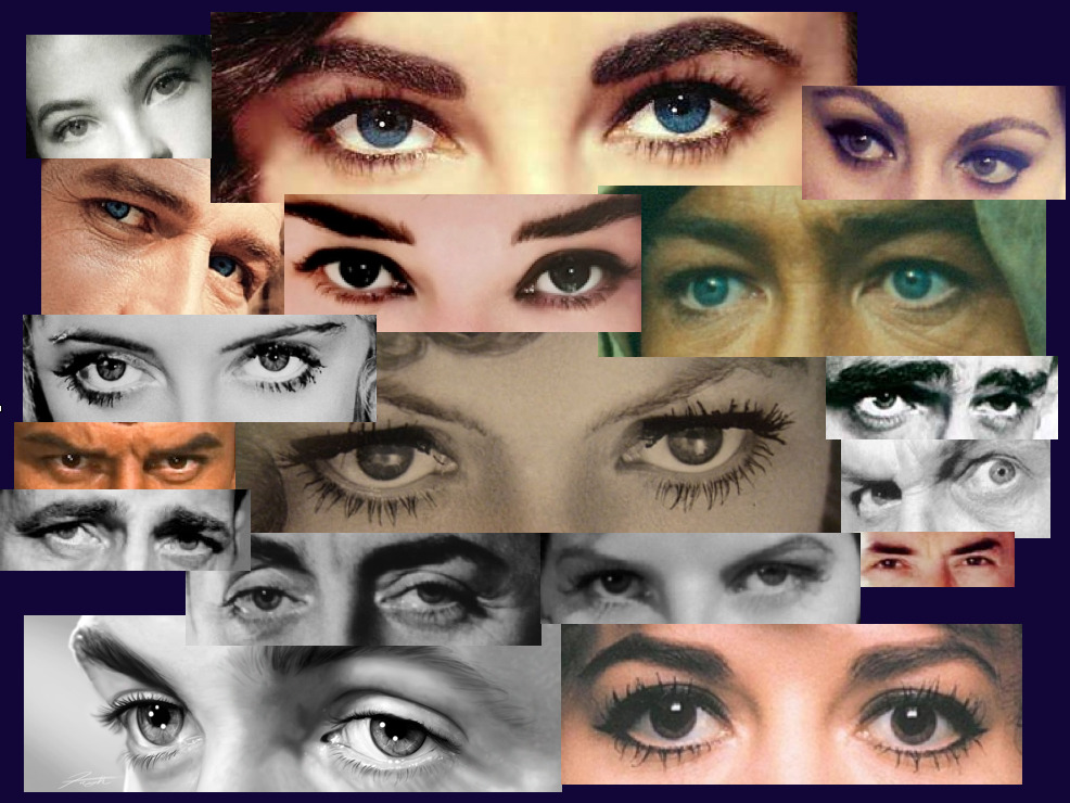 The eyes of Liz Taylor, Yul Brynner, Sophia Loren, Leslie Caron, Paul Newman, Audrey Hepburn, Peter O'Toole, Bette Davis, Joan Crawford, James Dean, Vincent Price, Gregory Peck, Katharine Hepburn, William Powell, Humphrey Bogart, Natalie Wood, and James Stewart. I decided to make a collage of great actors' eyes for my Characterization class in which we do the Style, developed by Tim Robbins for the Actors Gang, that involves sharing the eyes. A little lame, but I take pride in knowing each actor simply by their eyes. Lol.